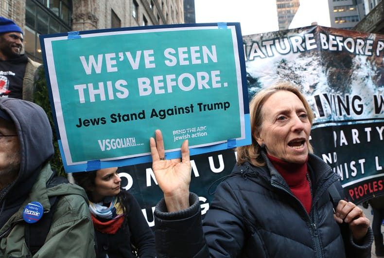 April 14, 2016: Jewish women hold signs and chant during an anti-Trump rally. Hundreds of demonstrators protested presidential candidate Donald Trump near Penn Station.