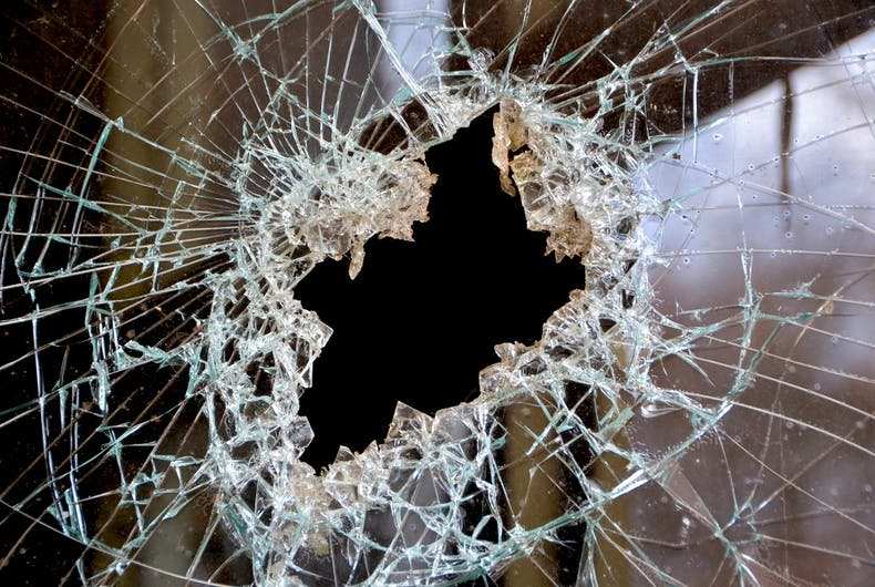 A smashed window