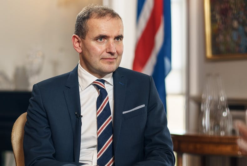 OCTOBER 31,2017: President of Iceland Gudni Johannesson during an interview with Russian television. He is wearing a different bracelet than what he wore to meet Pence.