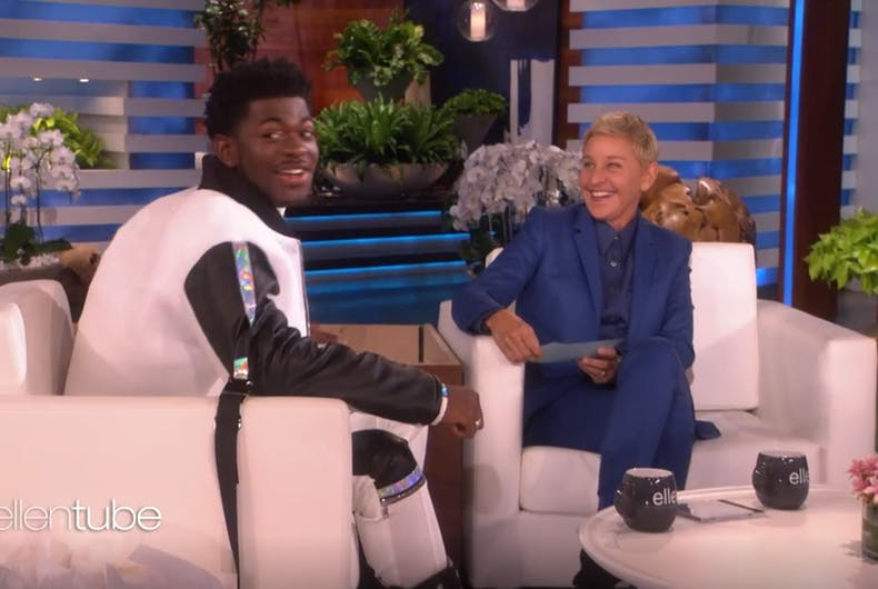 Ellen scared Lil Nas X on her show today.