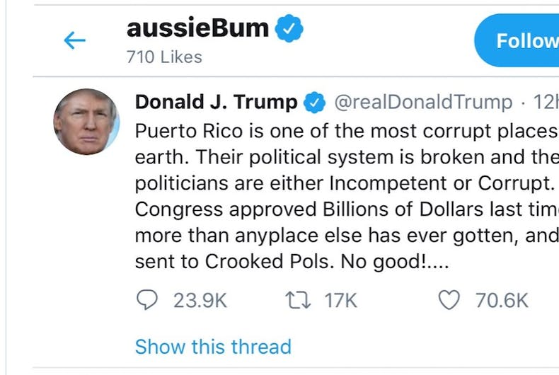 Someone at underwear brand aussieBum was liking President Trump's tweets