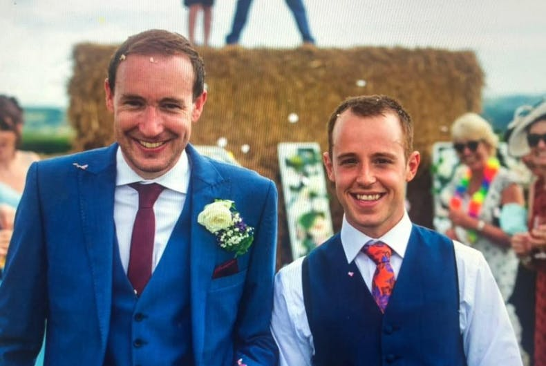 Callum Hodge and his husband Ashley Jenkins at their wedding