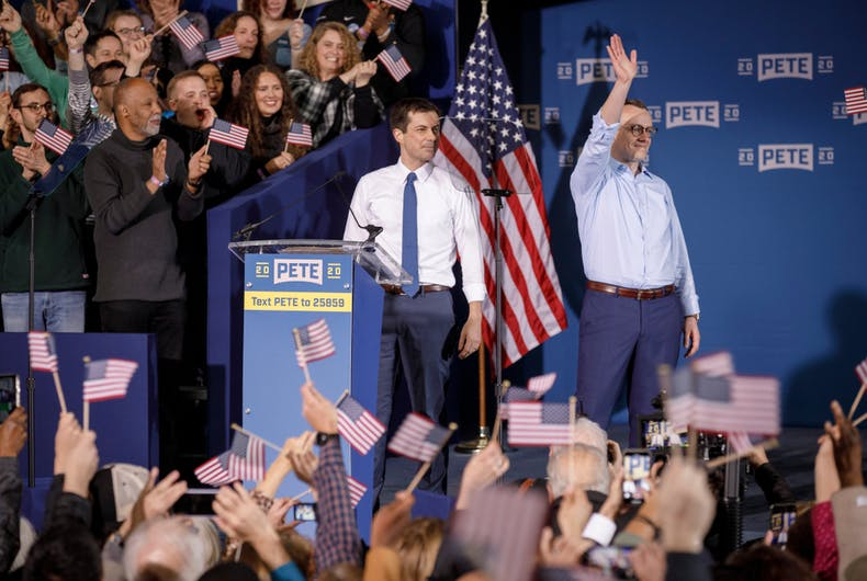 South Bend, Indiana, Mayor Pete Buttigieg and his husband, Chasten, attend a rally to announce Buttigieg's 2020 Democratic presidential candidacy on April 14, 2019.
