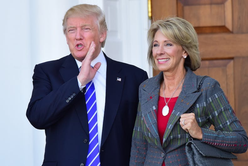Trump, Betsy DeVos, Republican, GOP, anti-LGBTQ, anti-gay, classes, ethnic studies