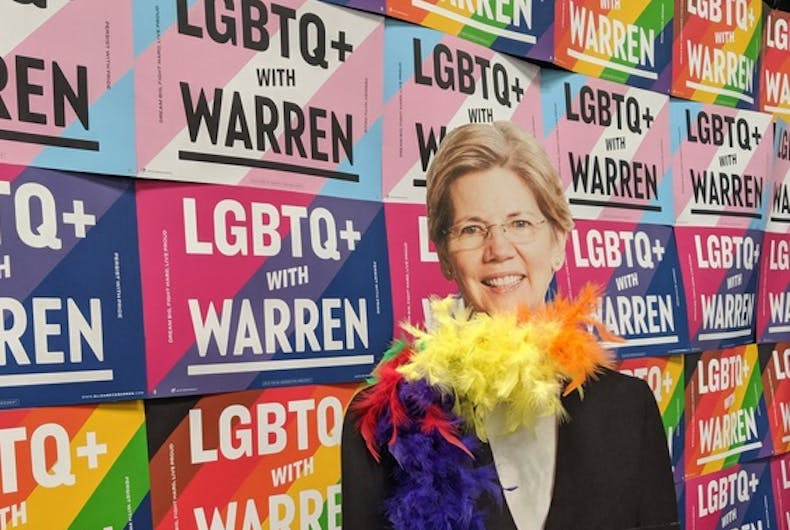 Elizabeth Warren's cutout at DragCon