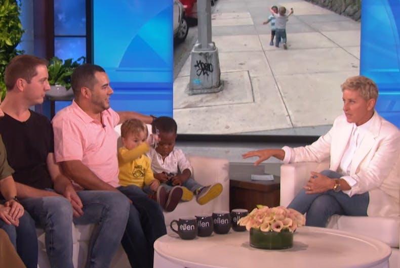 Hugging toddlers on Ellen