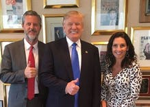 "Jerry Falwell Jr posts & deletes naughty pic from yacht with young ""friend"""