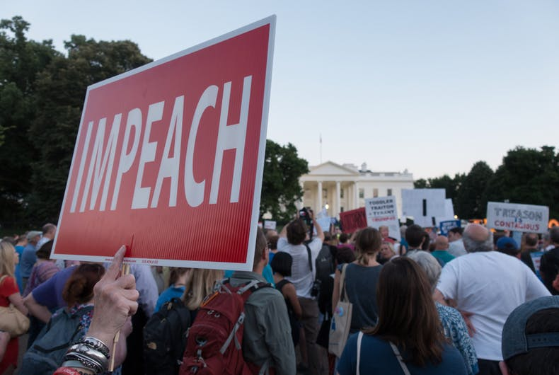 JULY 18, 2018: Demonstrators outside White House protesting President Donald Trumps