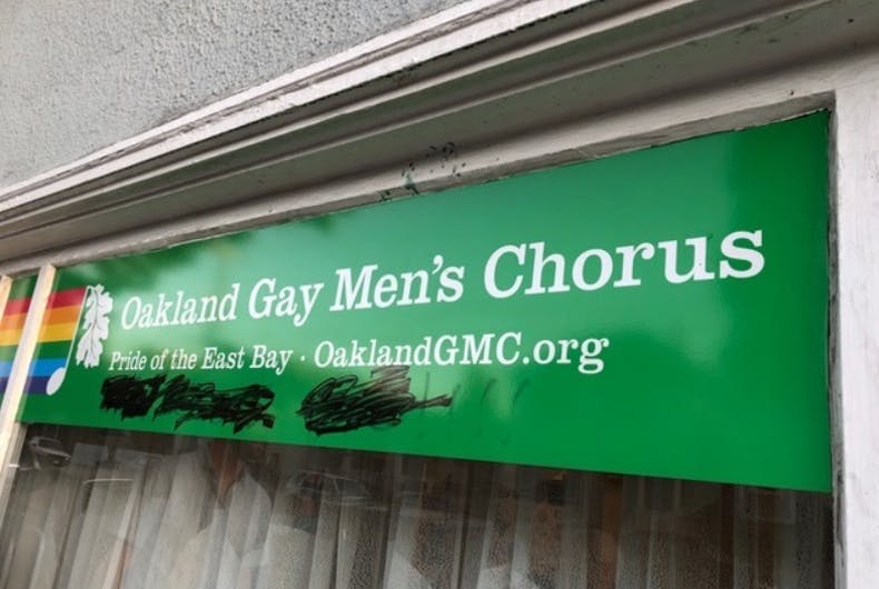 The Oakland Gay Men's Chorus sign on Wednesday