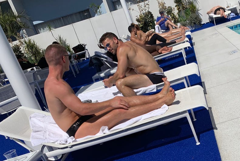 Aaron Schock at the Standard Hotel's pool in West Hollywood from earlier this year. He is not out.
