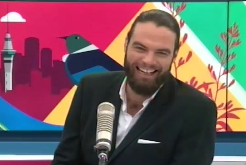 The AM Show host Ryan Bridge laughing nervously as he's outed on air.