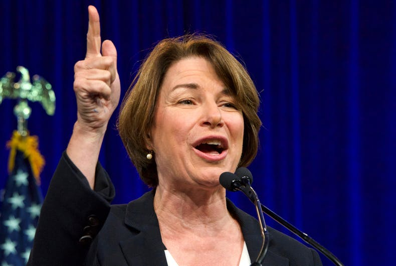 Presidential candidate Amy Klobuchar speaking at the Democratic National Convention summer session in San Francisco, California
