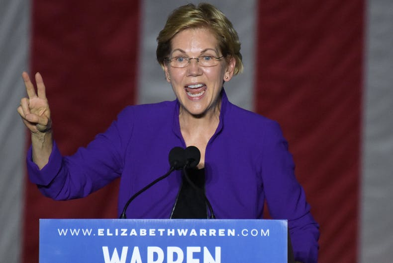 Elizabeth Warren, gay donor, video, Zach, three dollars