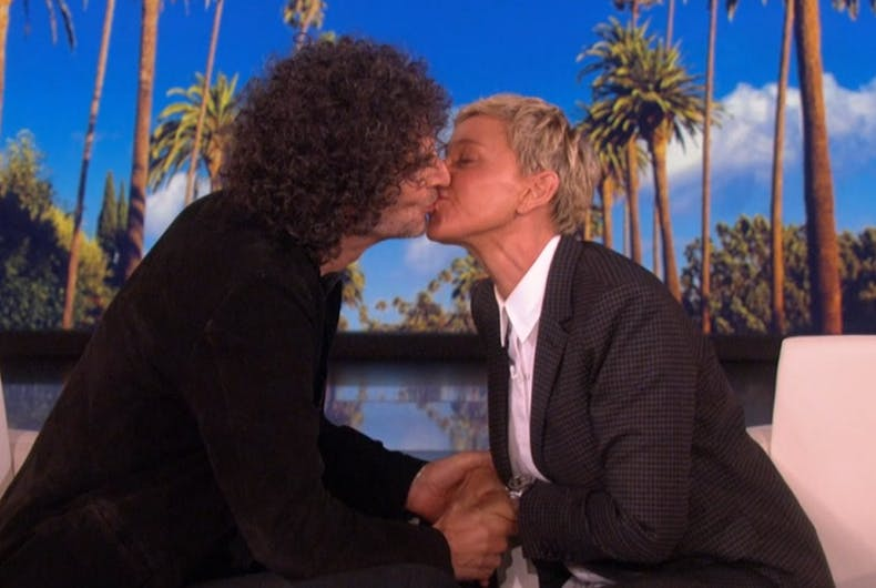 Howard Stern and Ellen, kissing