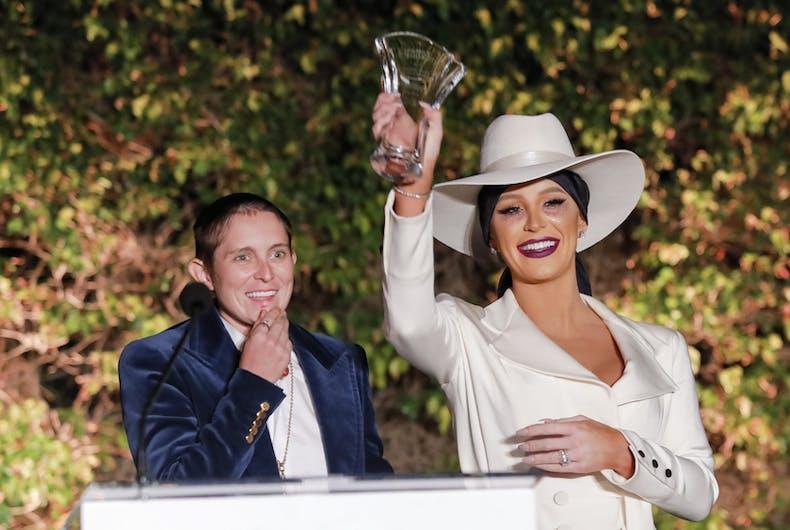 Nats Getty and Gigi Gorgeous receive their award.