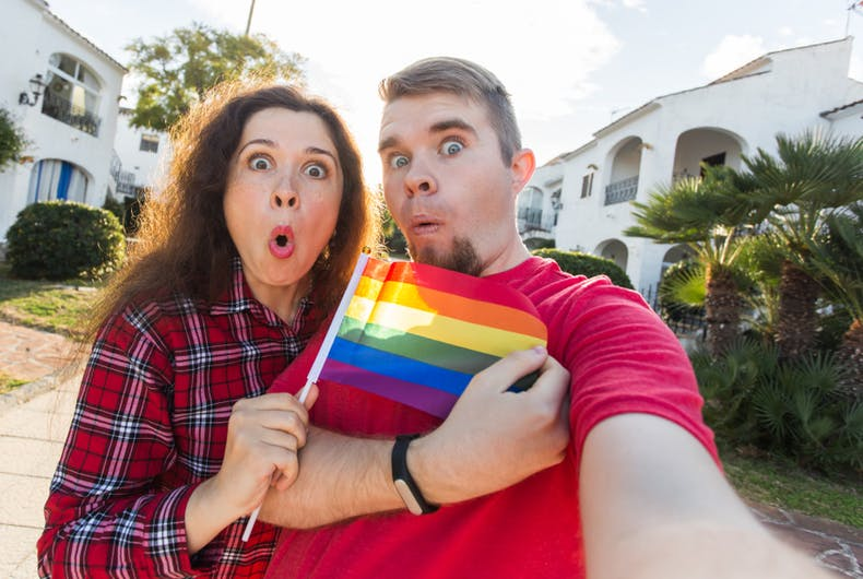 Young man and woman surprised when the first time came parade