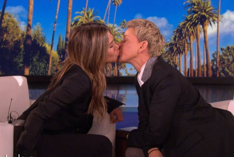 Jennifer Aniston and Ellen kissing