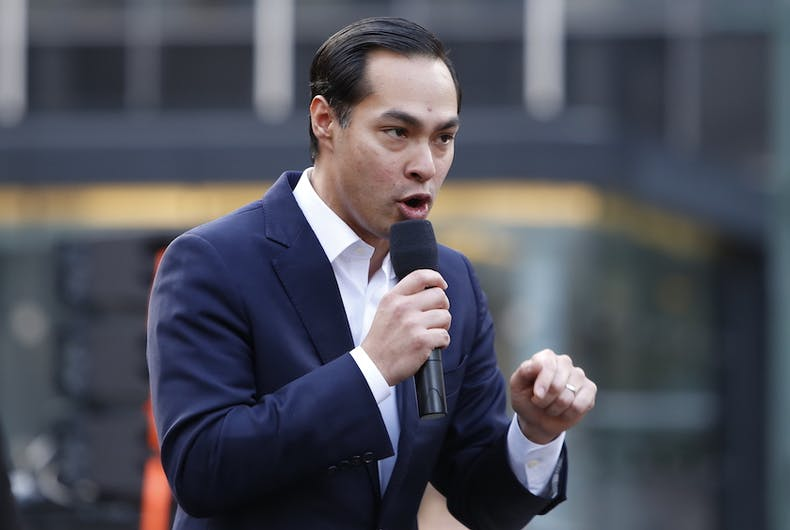 Julian Castro addresses a rally.