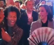 Shangela teaches Kamala Harris to thworp a fan like a queen