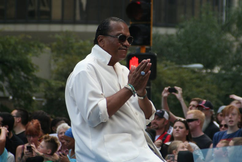 Billy Dee Williams, known for his role as Lando Calrissian in Star Wars, acknowledges the crowd at the annual DragonCon parade held August 31, 2013 in Atlanta.