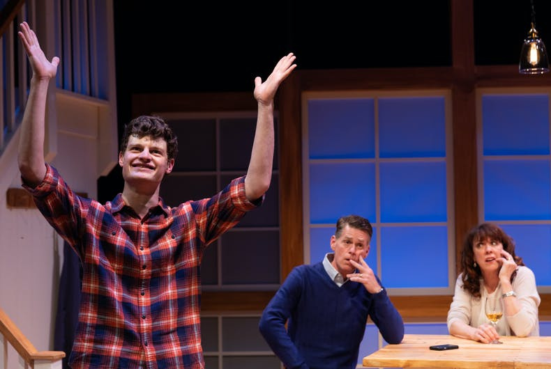 Nathan Malin, Michael Kaye, and Maureen Keiller in SpeakEasy Stage's production of