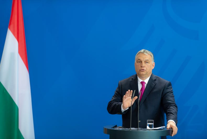 2018-07-05: Viktor Orbán, the Prime Minister of Hungary, answers questions at the press conference at the federal chancellery in Berlin