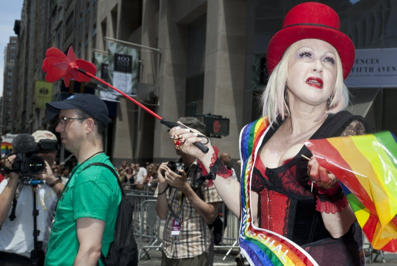 Grand Marshall Cyndi Lauper rides at 2012 New York City's Pride March in New York on June 24, 2012.