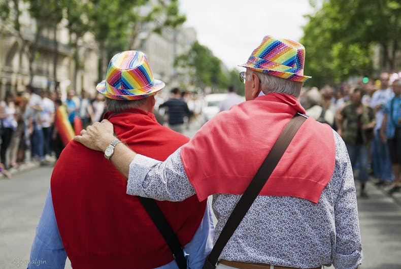 An elderly gay couple