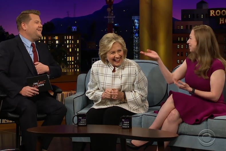 Hillary and Chelsea Clinton on the Late Late Show with James Corden