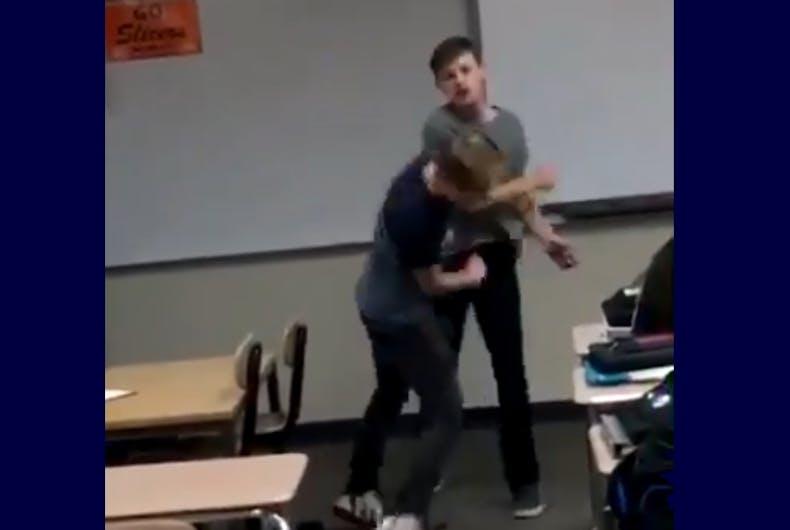 Jordan Steffy punching the bully