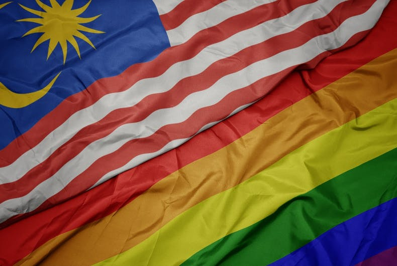 Malaysian and rainbow flags