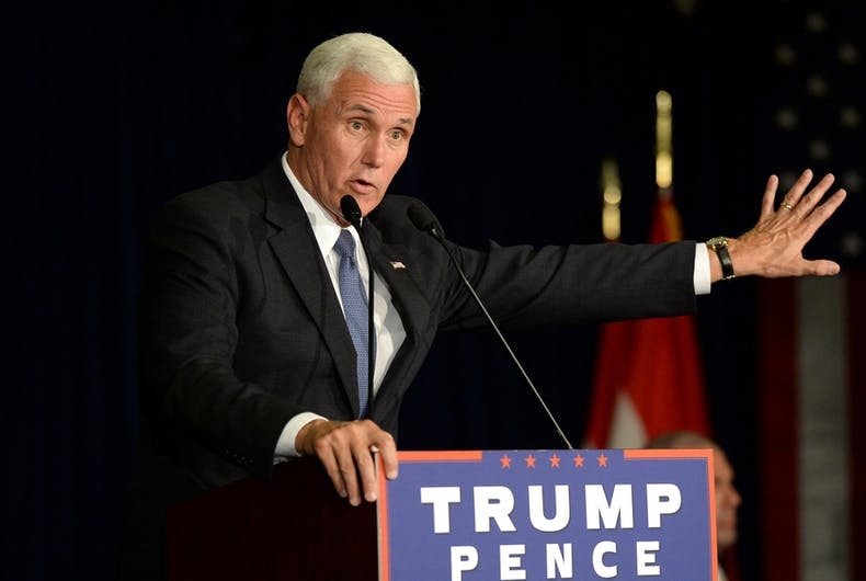 Republican vice presidential candidate, Indiana Governor Mike Pence speaks to supporters at a rally in Chesterfield, Missouri