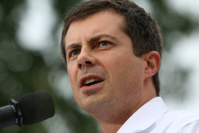 Pete Buttigieg, Democratic presidential candidate, speaks to the crowd at a political rally.