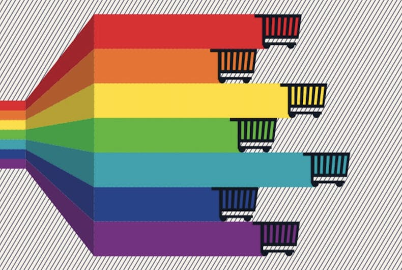 rainbow-colored shopping carts