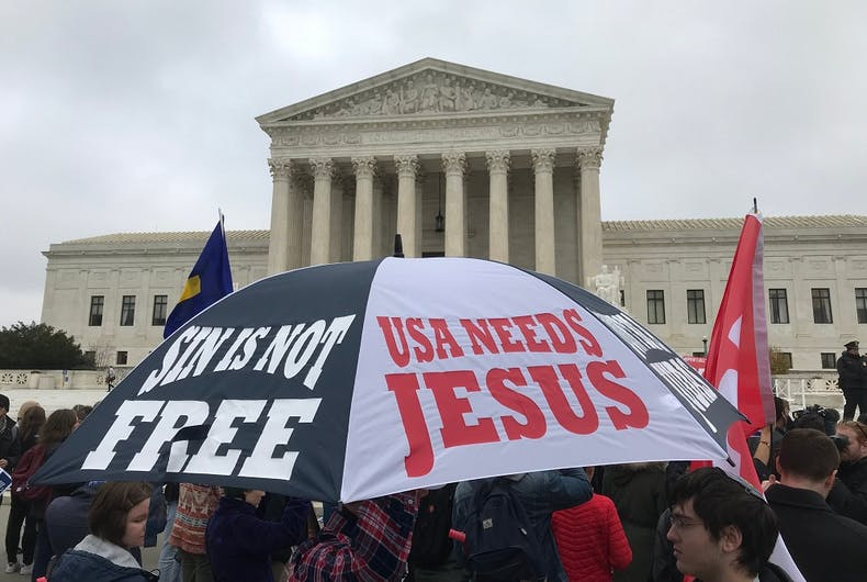 Umbrella with religious messages being displayed at the Supreme Court of the United States, December 5, 2017 in support of religious liberties during the Cake Shop case.