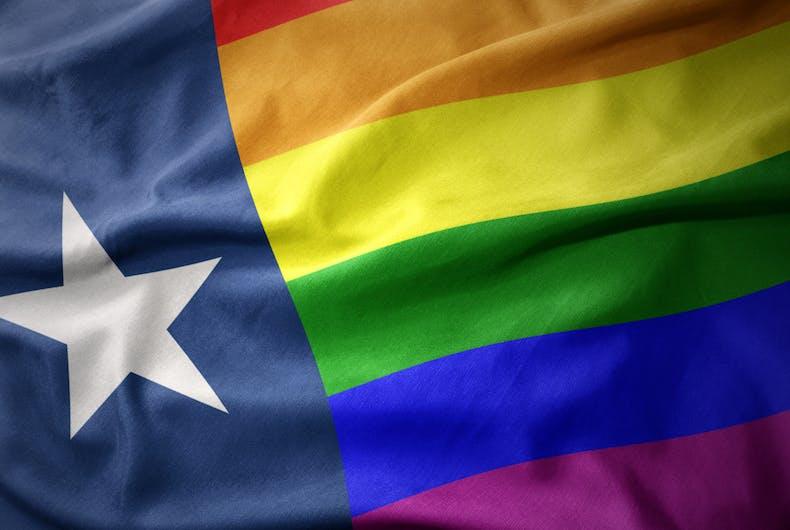 The Texas flag with rainbow stripes