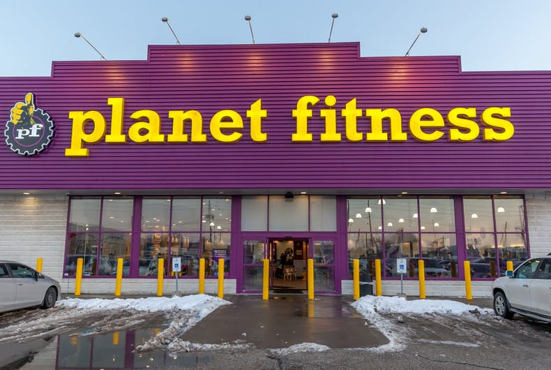 The parking lot of a Planet Fitness gym.