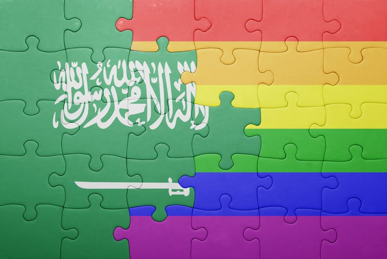 puzzle with the national flag of saudi arabia and gay flag.concep