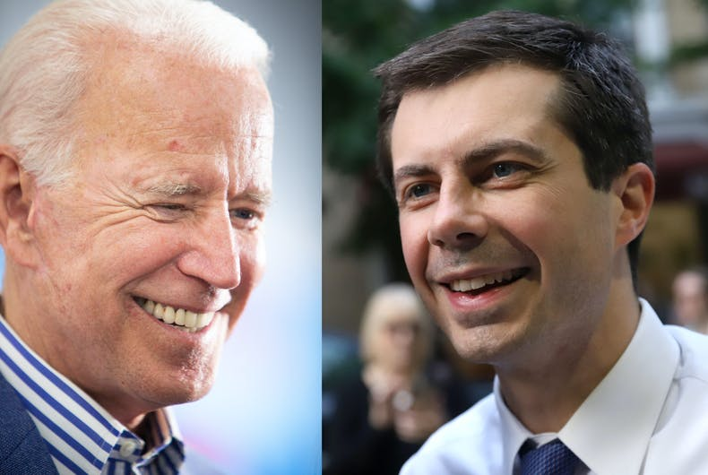 Former Vice President Joe Biden and South Bend, Indiana mayor Pete Buttigieg