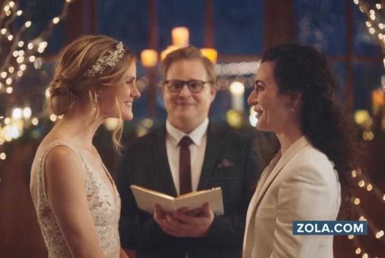 The same-sex couple featured in a promotional ad for Zola.com pulled by Hallmark Channel.