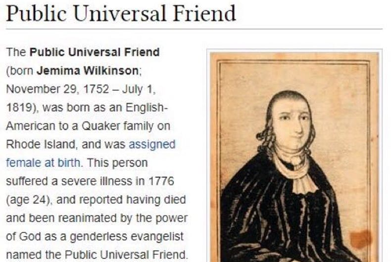 A screenshot of the Wikipedia article for Public Universal Friend.