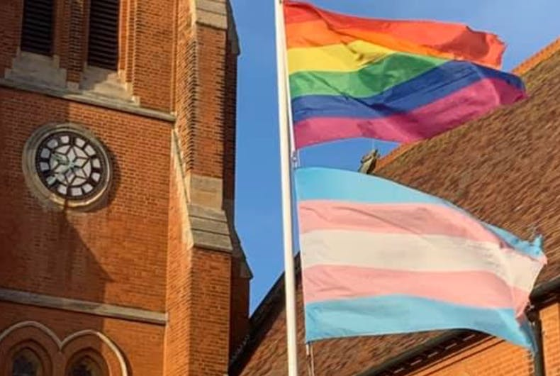 A note left at a LGBTQ-friendly church slammed them for proudly waving