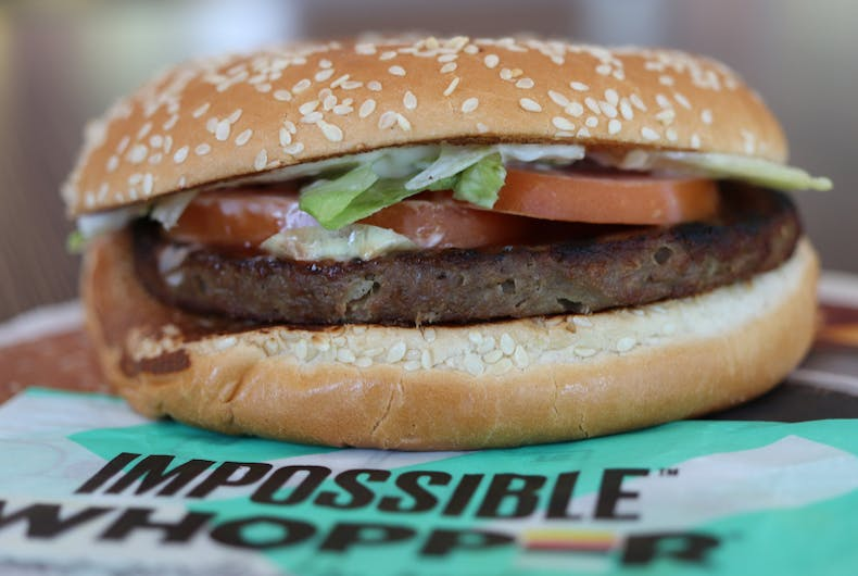 The IMPOSSIBLE™ WHOPPER® at a Burger King restaurant in Columbus, GA. Nationwide, BK started offering this burger featuring a patty made from plants in 08/2019