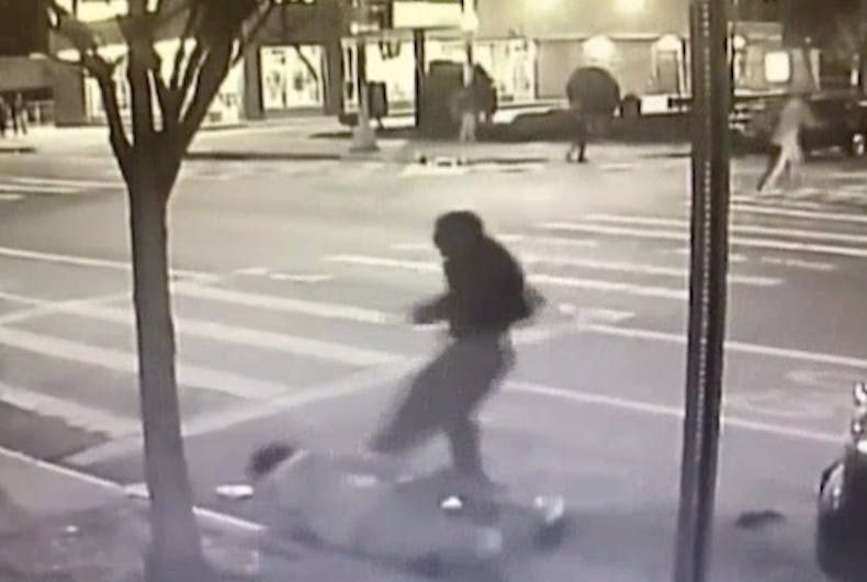 Video footage shows an unknown attacker kicking Juan Fresnada to the ground.
