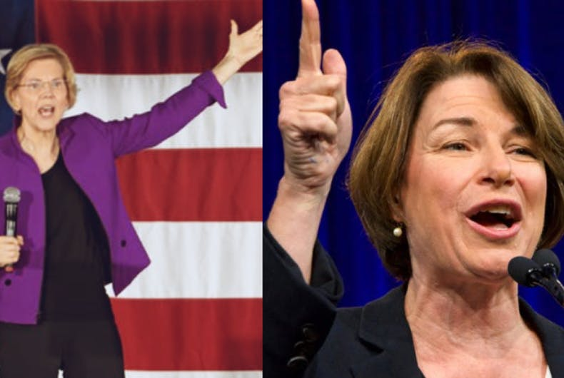 Presidential hopefuls and Democratic Senators Elizabeth Warren (left) and Amy Kloubachar (right).