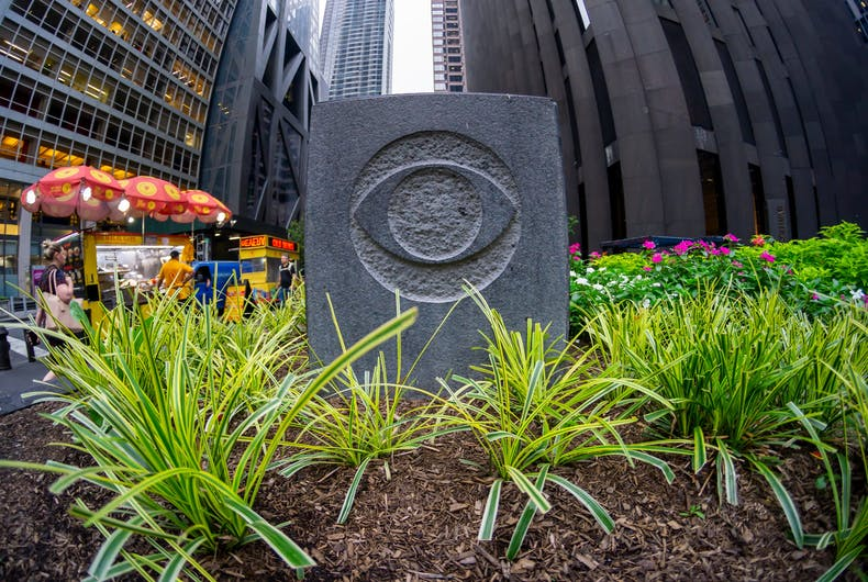 New York NY - A decorative element with the CBS logo outside of Black Rock, the CBS headquarters in New York, August 13, 2019.