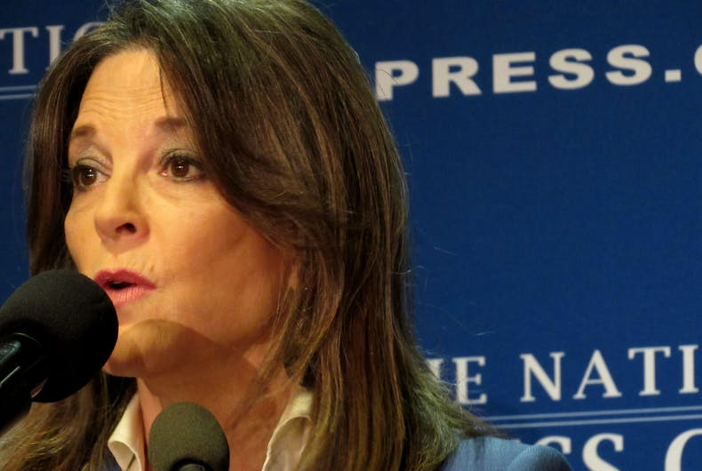 10/26/19: Democratic presidential candidate Marianne Williamson speaks to reporters at the National Press Club.