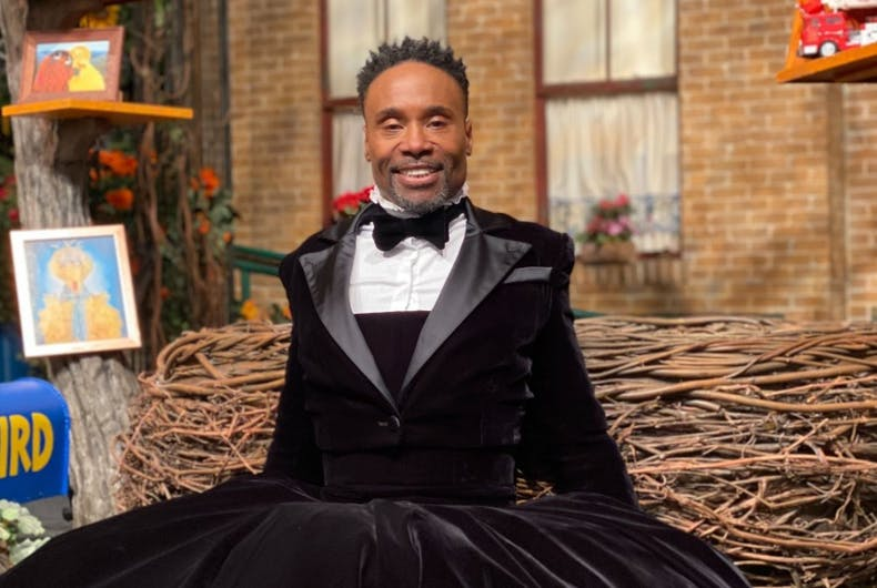 Billy Porter in his tux dress at Big Bird's place.