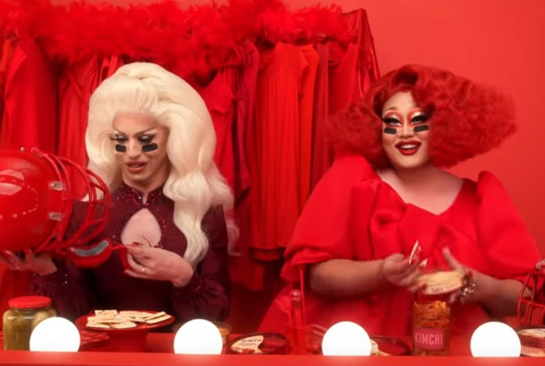 Miz Cracker and Kim Chi in the Sabra Hummus ad