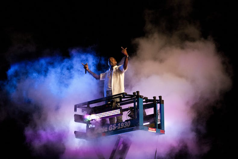 Kanye West performs at the Way Out West festival on August 13, 2011 in Gothenburg, Sweden.